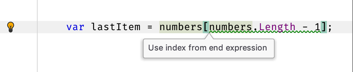 Use index from end expression