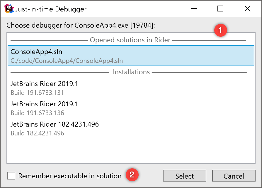 Selecting Just-in-time debugger