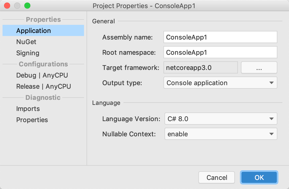 Project Properties dialog
