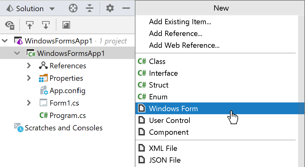 File templates for Windows Forms