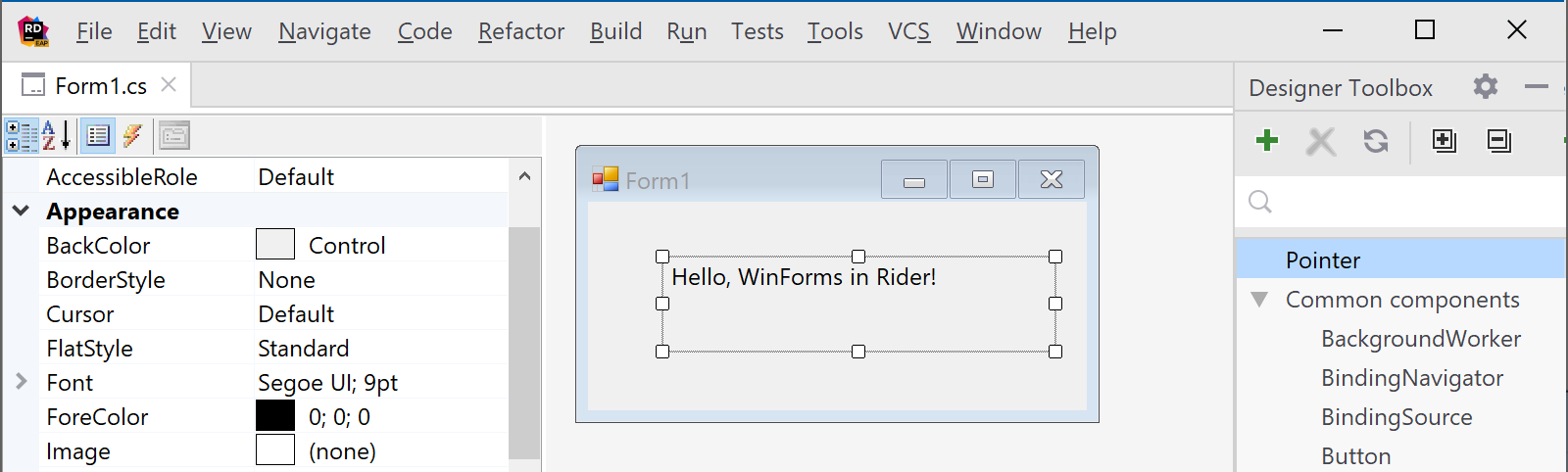 WinForms designer in Rider 2019.1