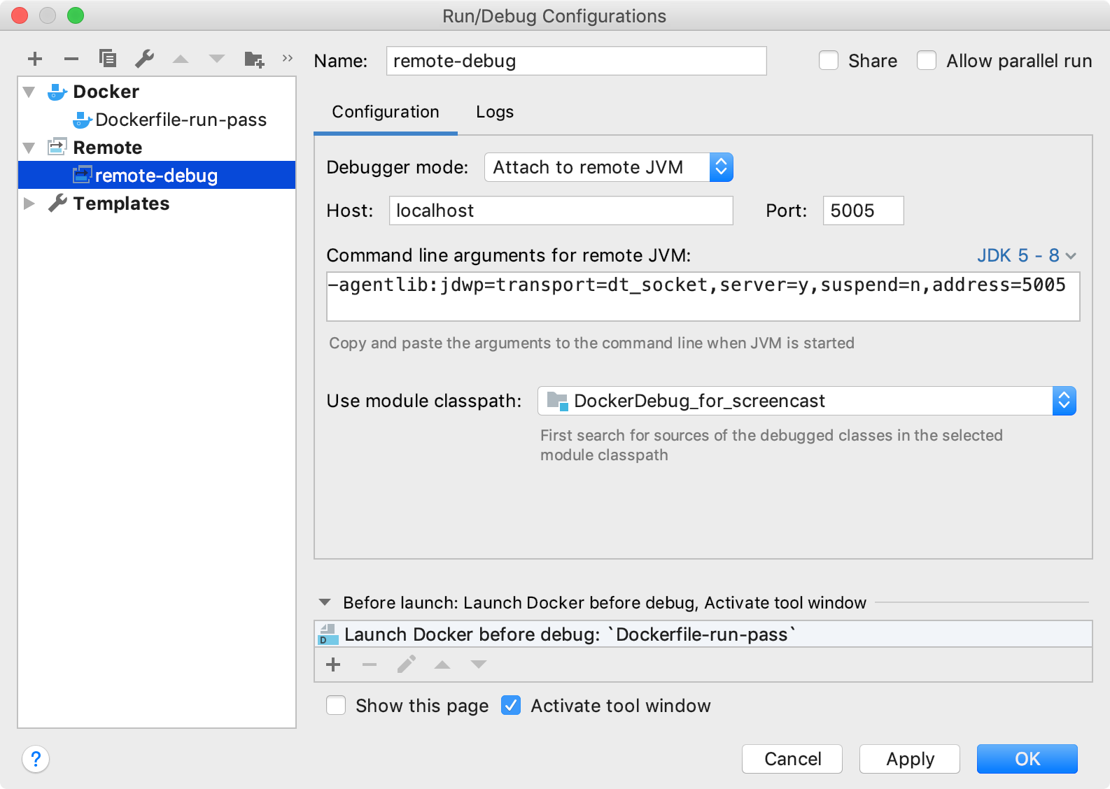 Remote debug configuration for a Java application running in a Docker container