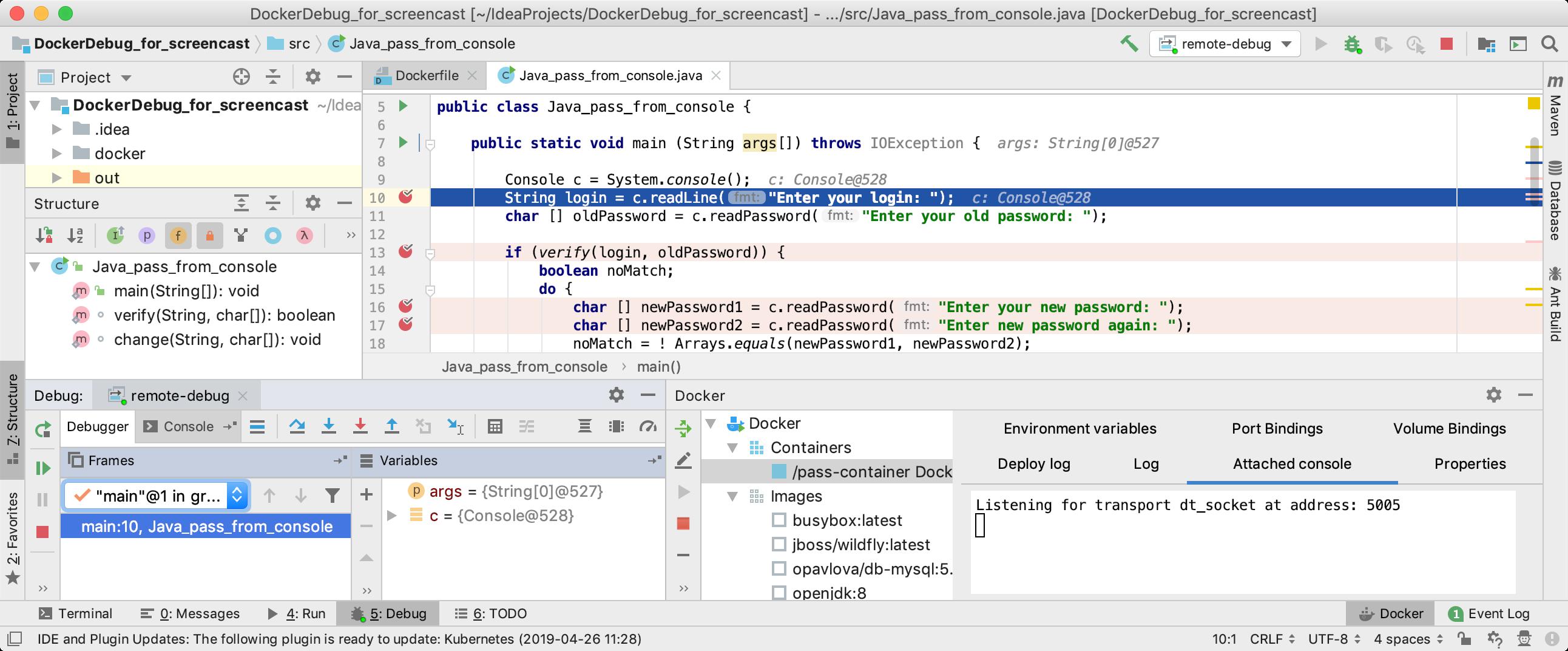Debug session of a Java application running in Docker
