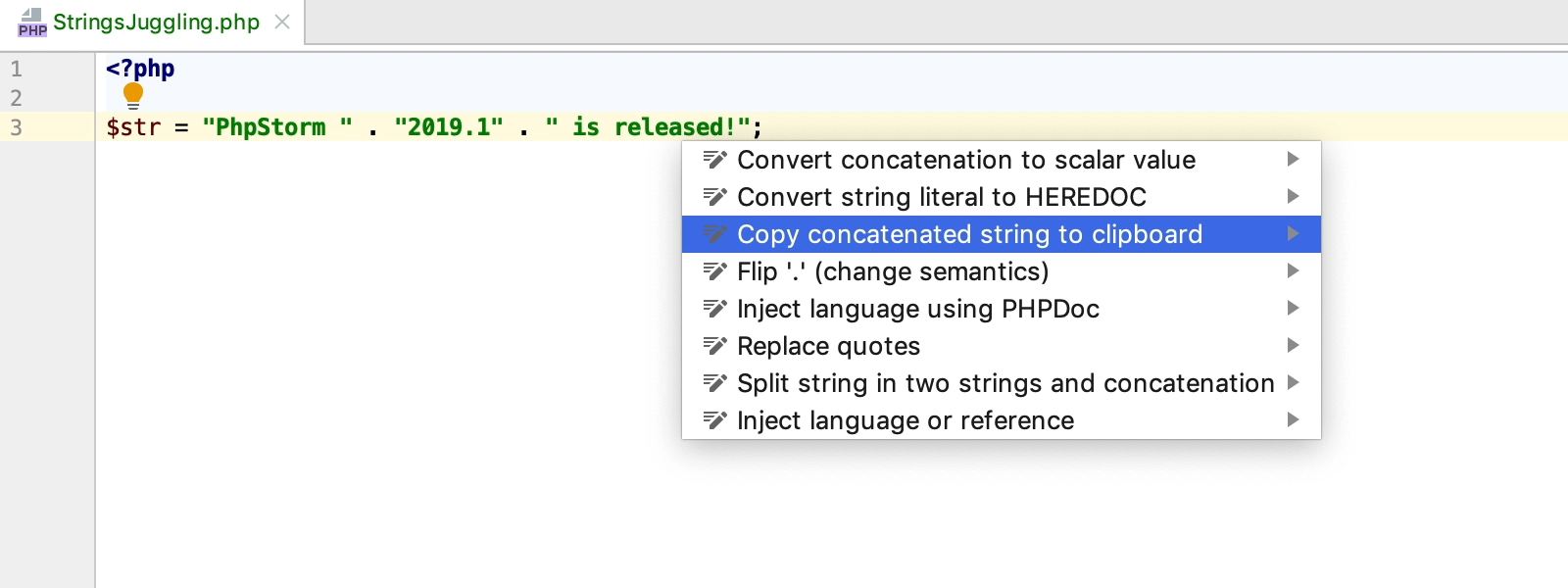 Copy concatenated string