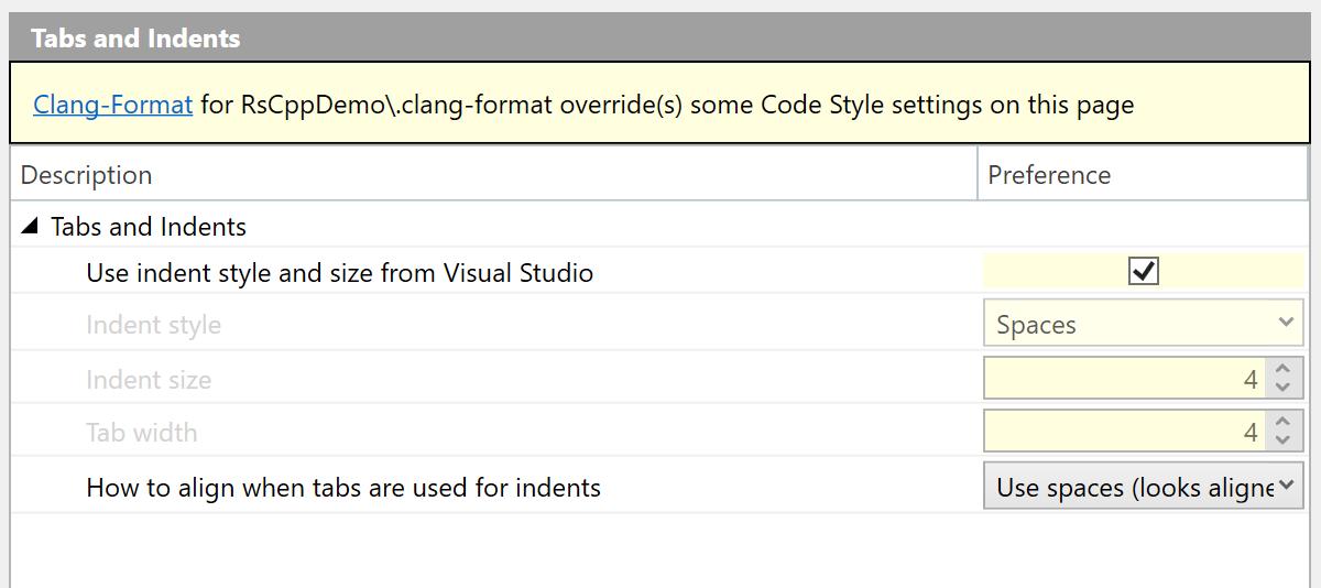 ClangFormat settings