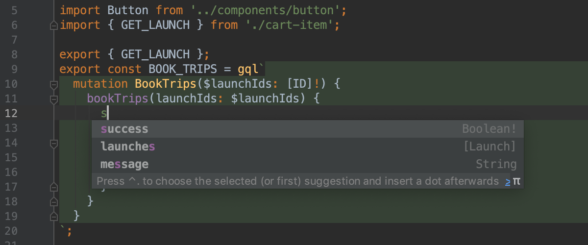 Completion for GraphQl in JavaScript