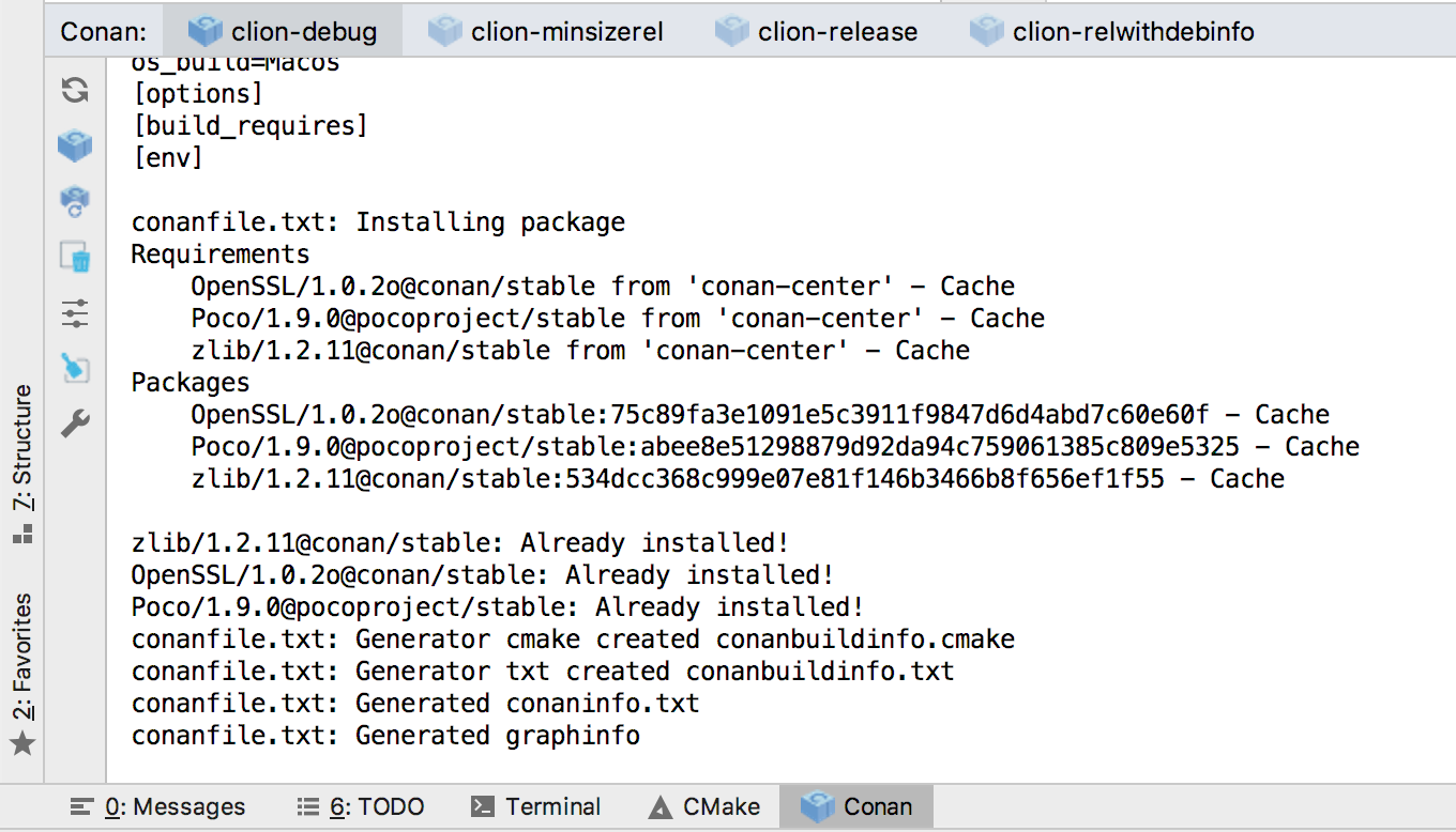 Conan installs the required library and transitive dependencies