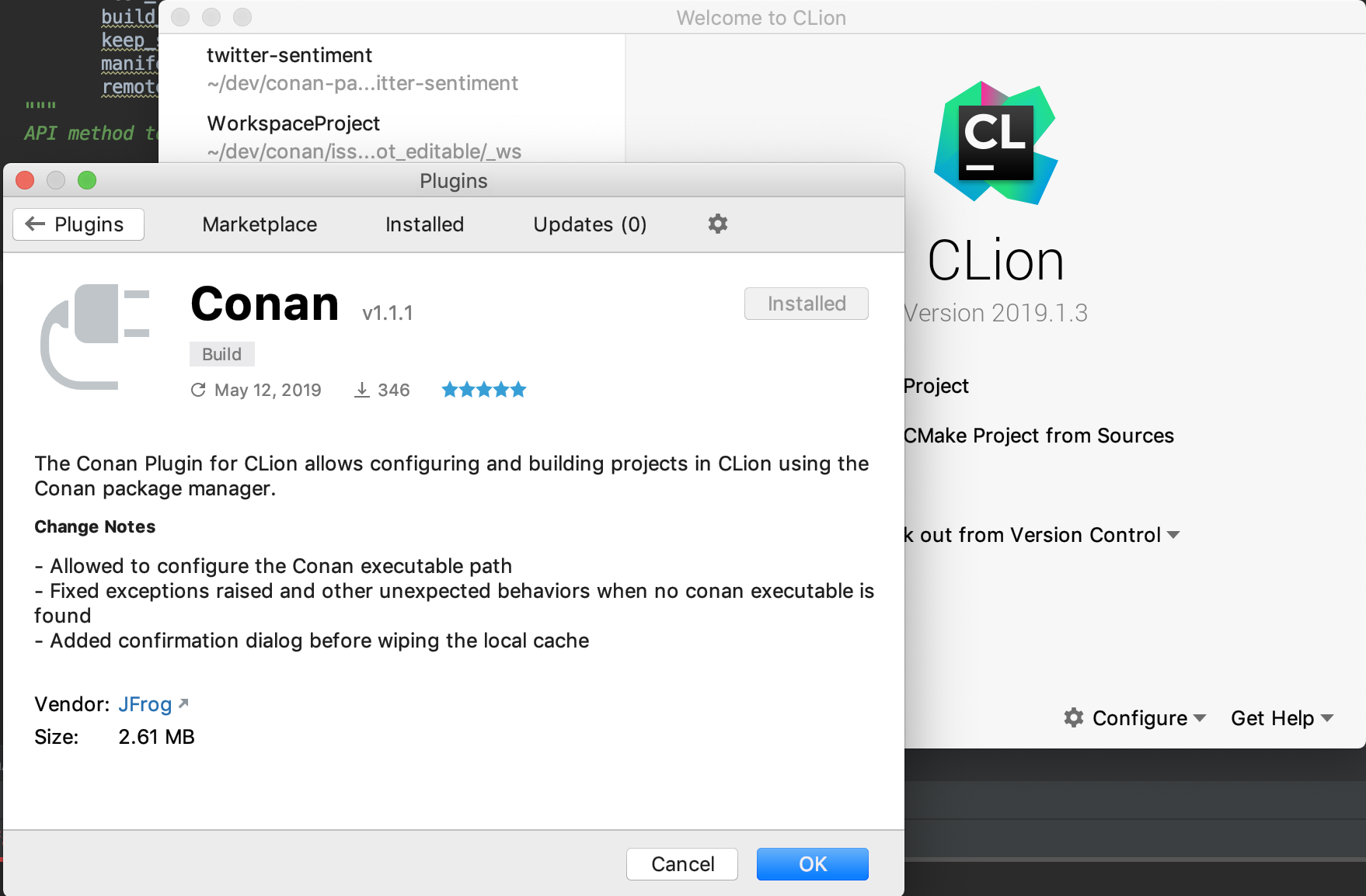 Install Conan plugin for CLion from the Welcome screen