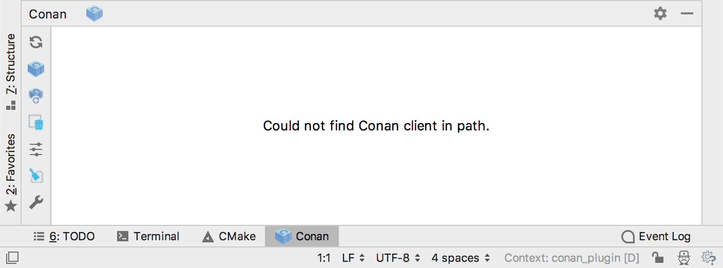 Conan plugin inside CLion interface (Conan not installed yet)