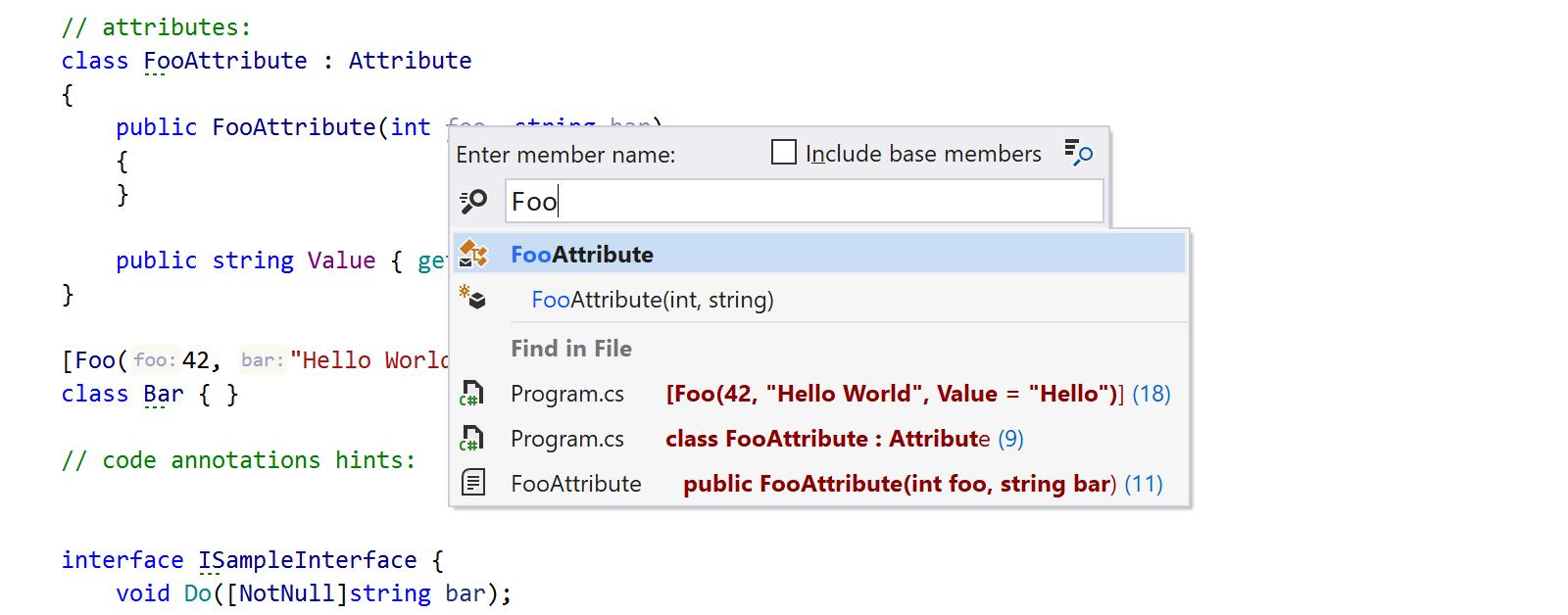 Find in Files in Go to File Member