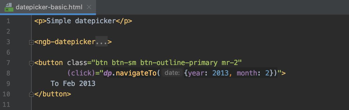 Angular template parameter hints