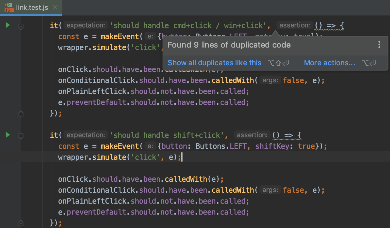 Highlighted duplicate code in the editor