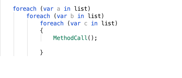 for each with indentation