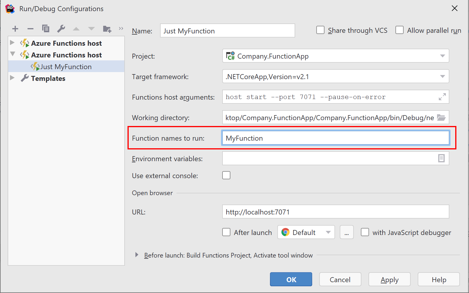 Specify individual Azure Function(s) to run in configuration