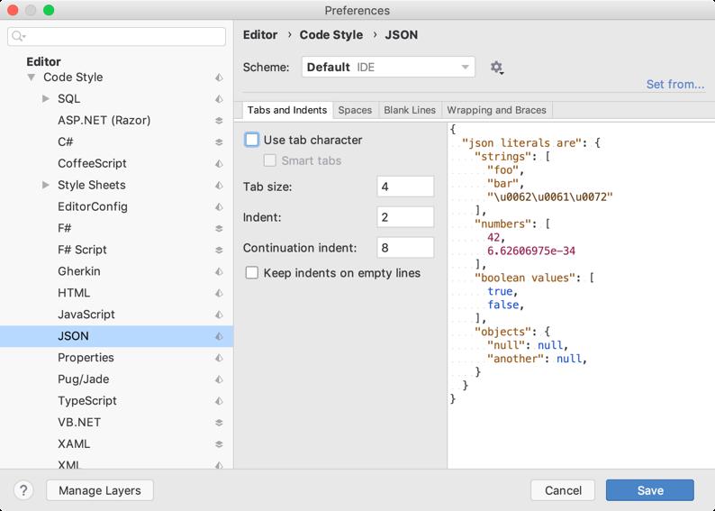 JSON code styles