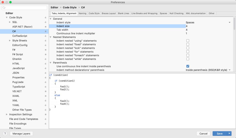 C# Code Style settings