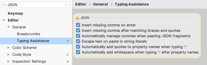 Typing assistance settings for JSON