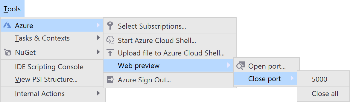 Open and close ports to Azure Cloud Shell Web Preview
