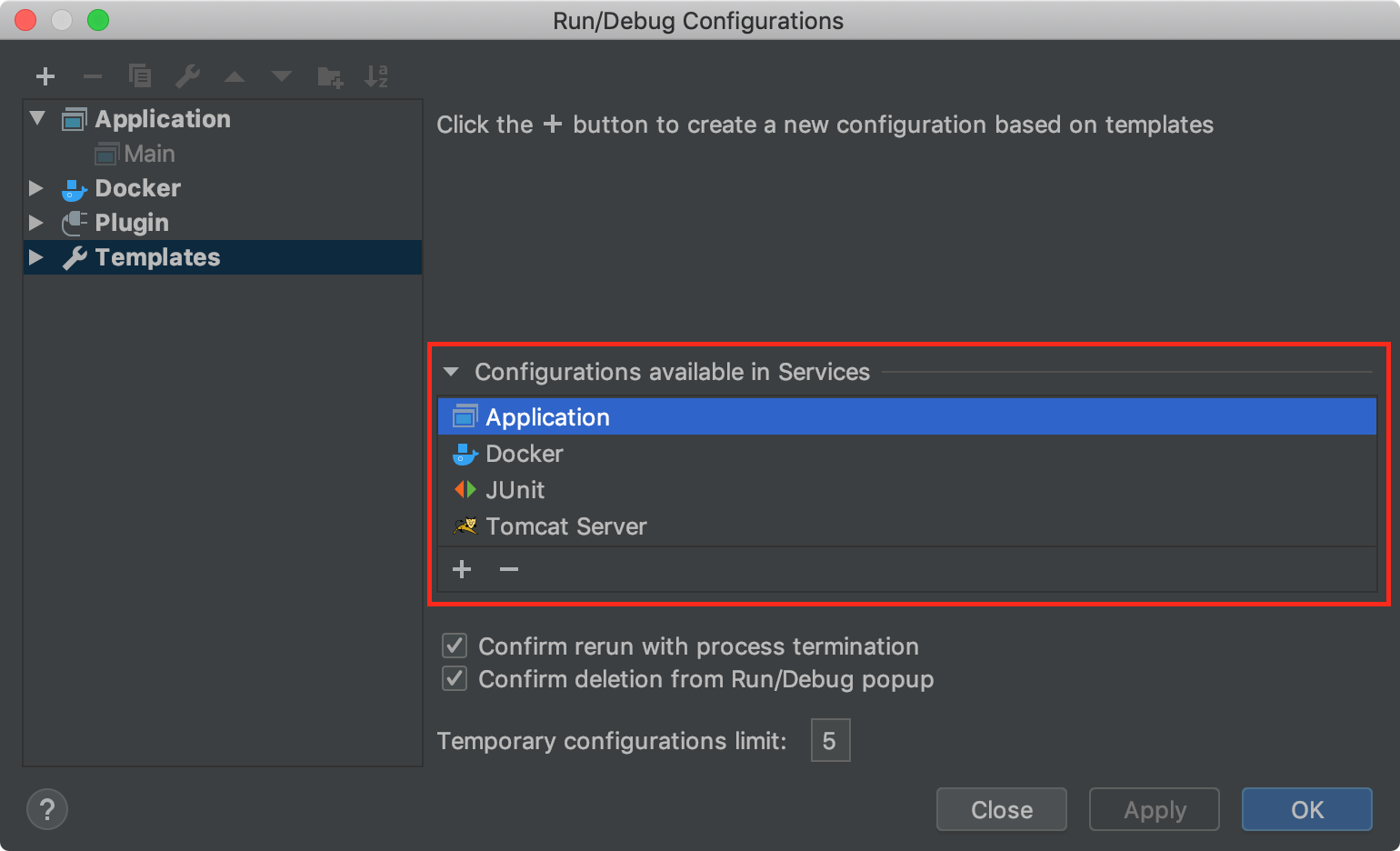 Configurations available in the Services tool window