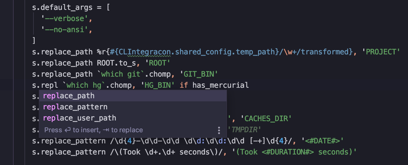 Ruby highlighting and completion