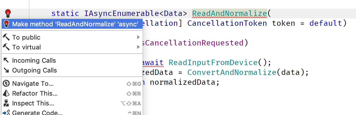Adding async keyword