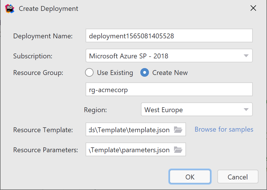 Create new deployment using ARM - Azure Resource Manager in Rider