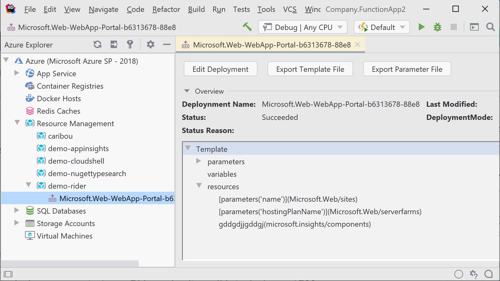 Show propertis of an Azure Resource Group deployment