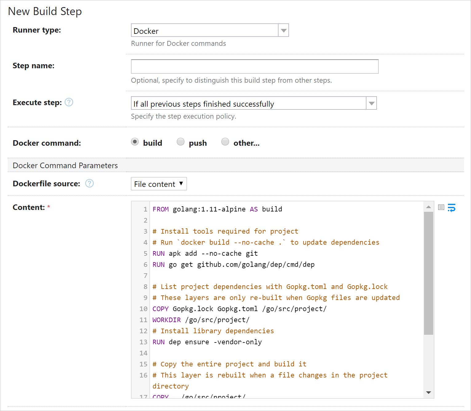 Dockerfile highlighting in TeamCity