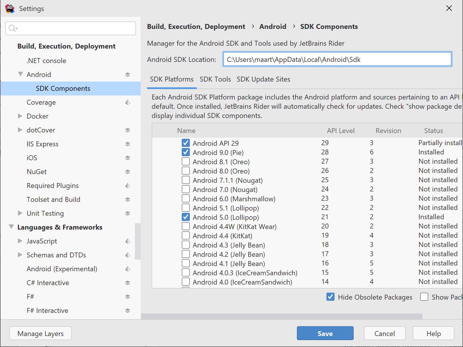 Manage Android SDK and SDK tools