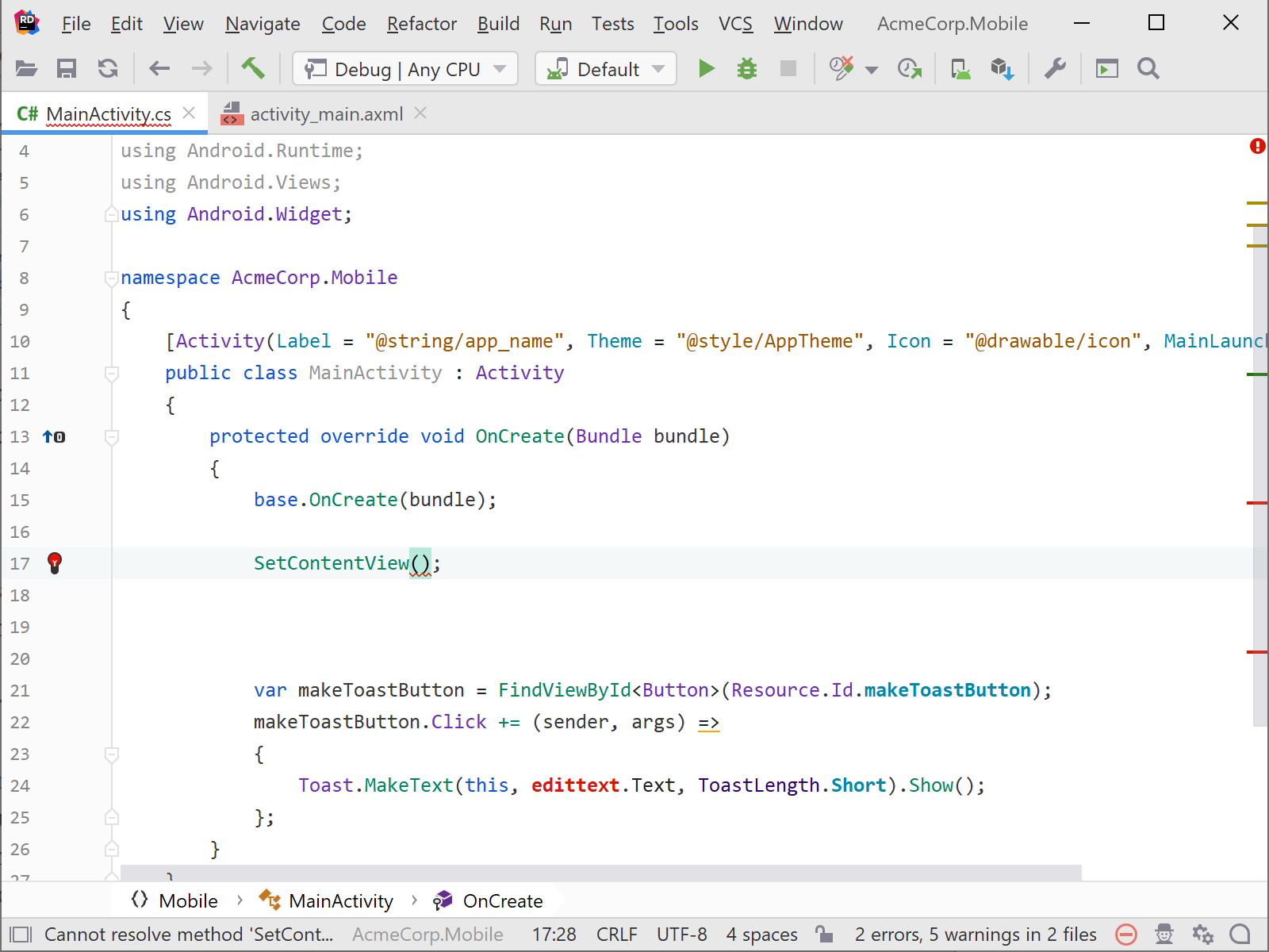 Coding and editing Xamarin code in Rider