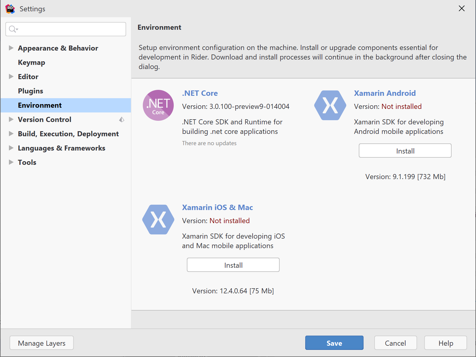Xamarin SDK can be installed from within Rider