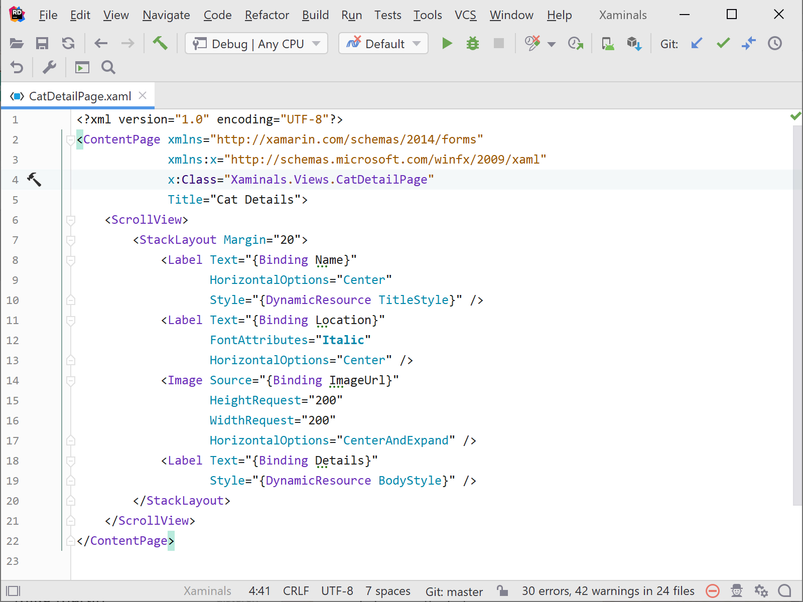 Navigating around in Xamarin Forms XAML code