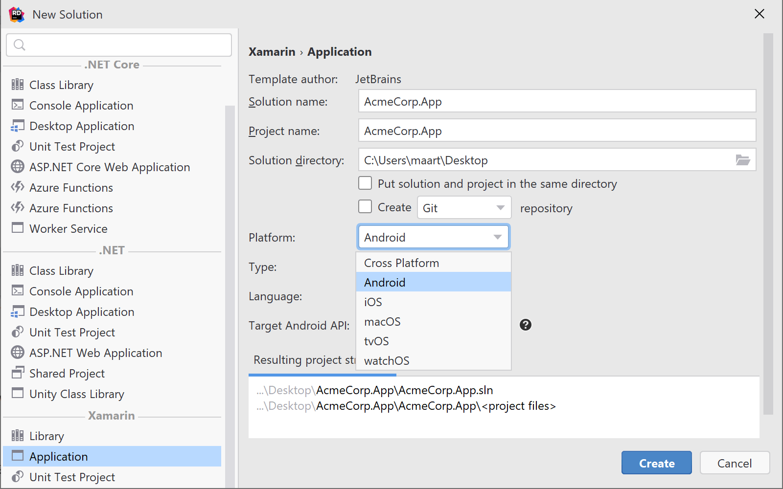 Project templates for mobile Xamarin development on Rider