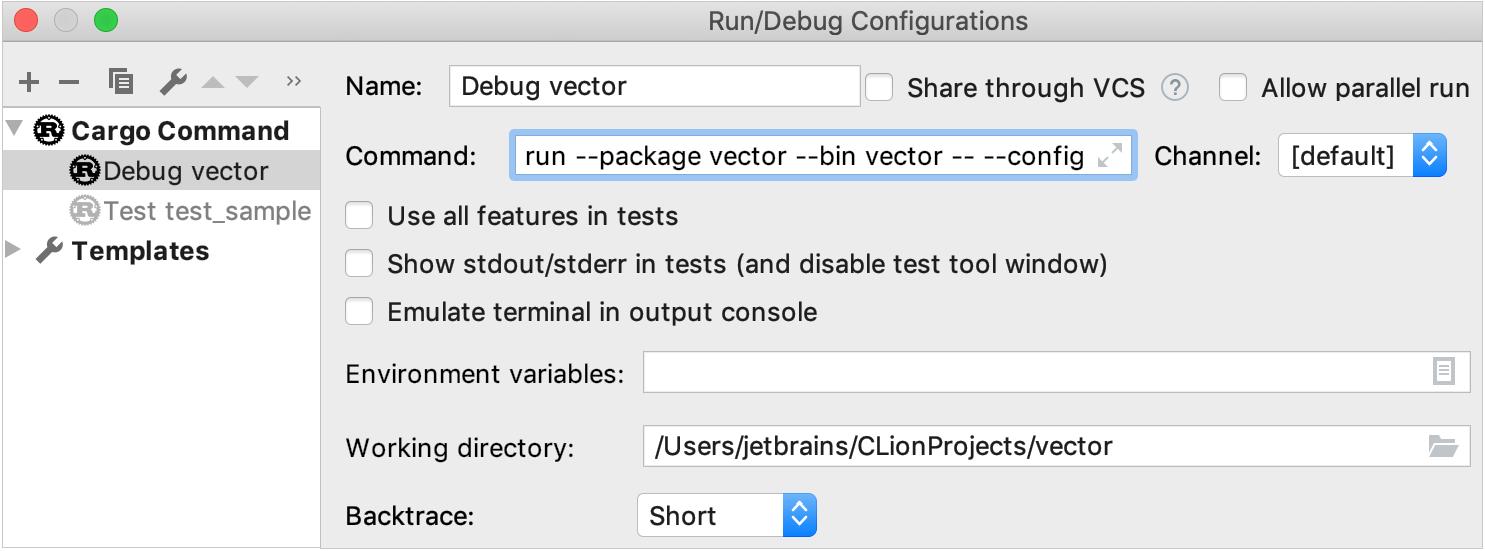 Cargo Command run/debug configuration
