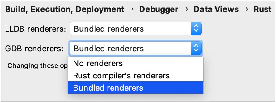 Selecting debugger renderers