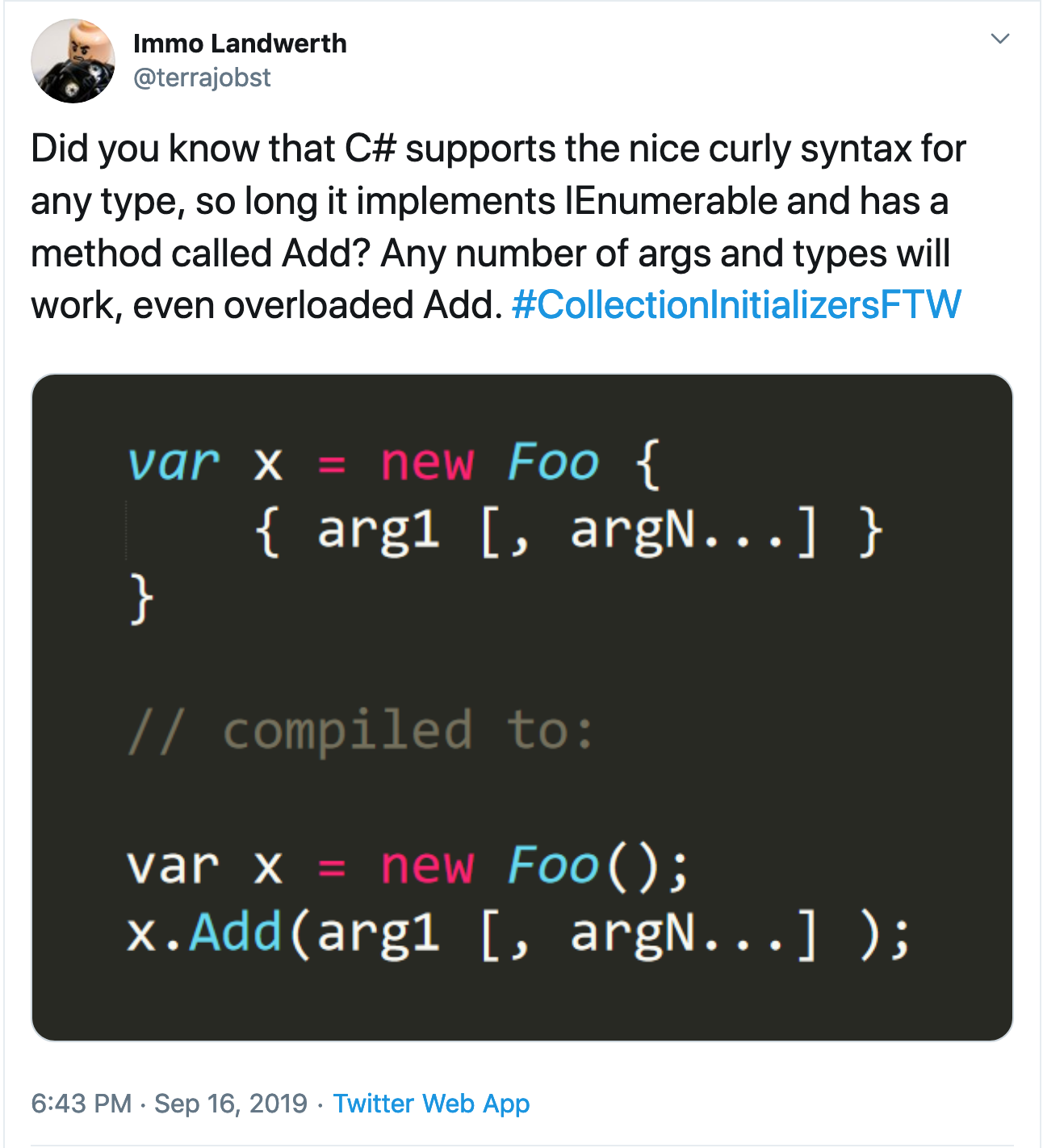 Tweet - curly syntax for any type