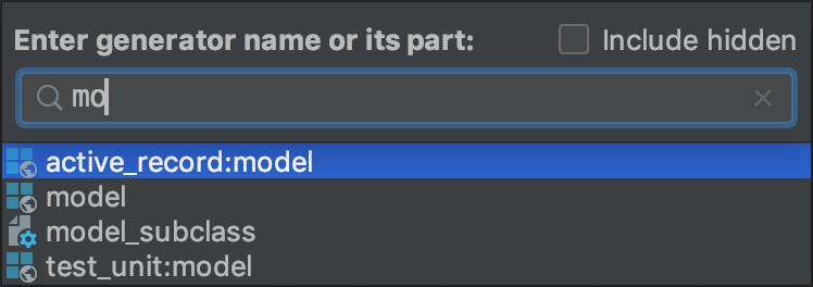 Rails generators popup