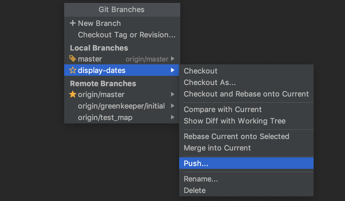 Push changes from any branch