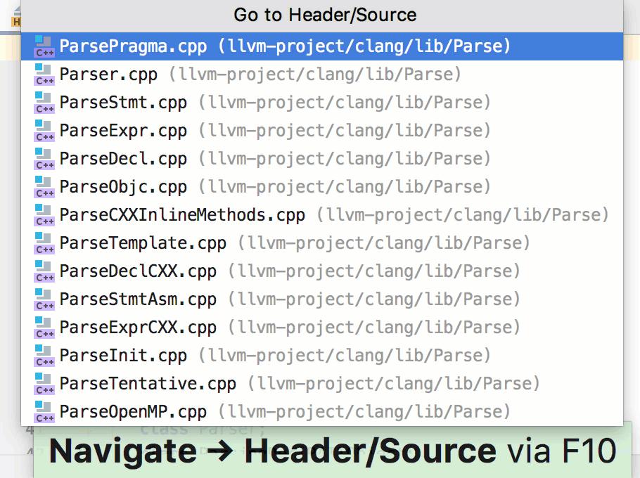 Go to Header/Source