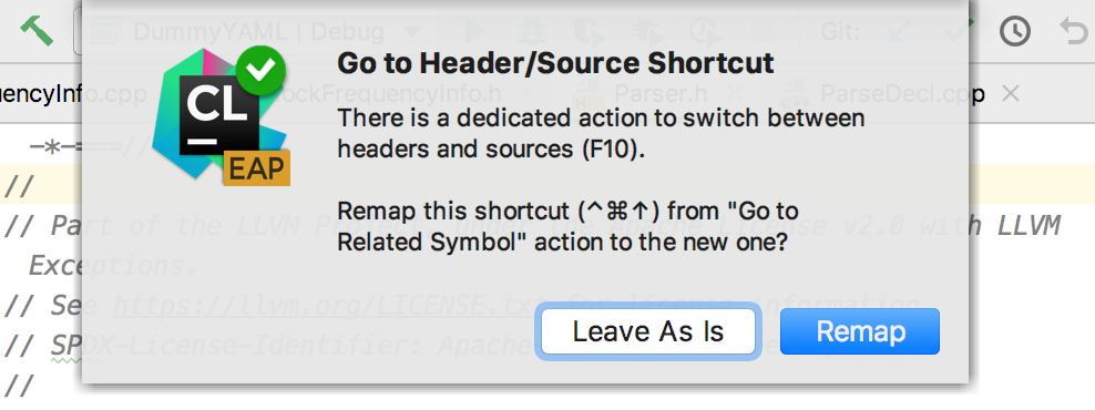 Remap the shortcut