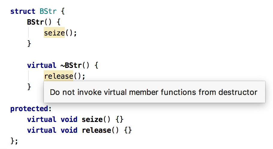 Virtual function call in destructor