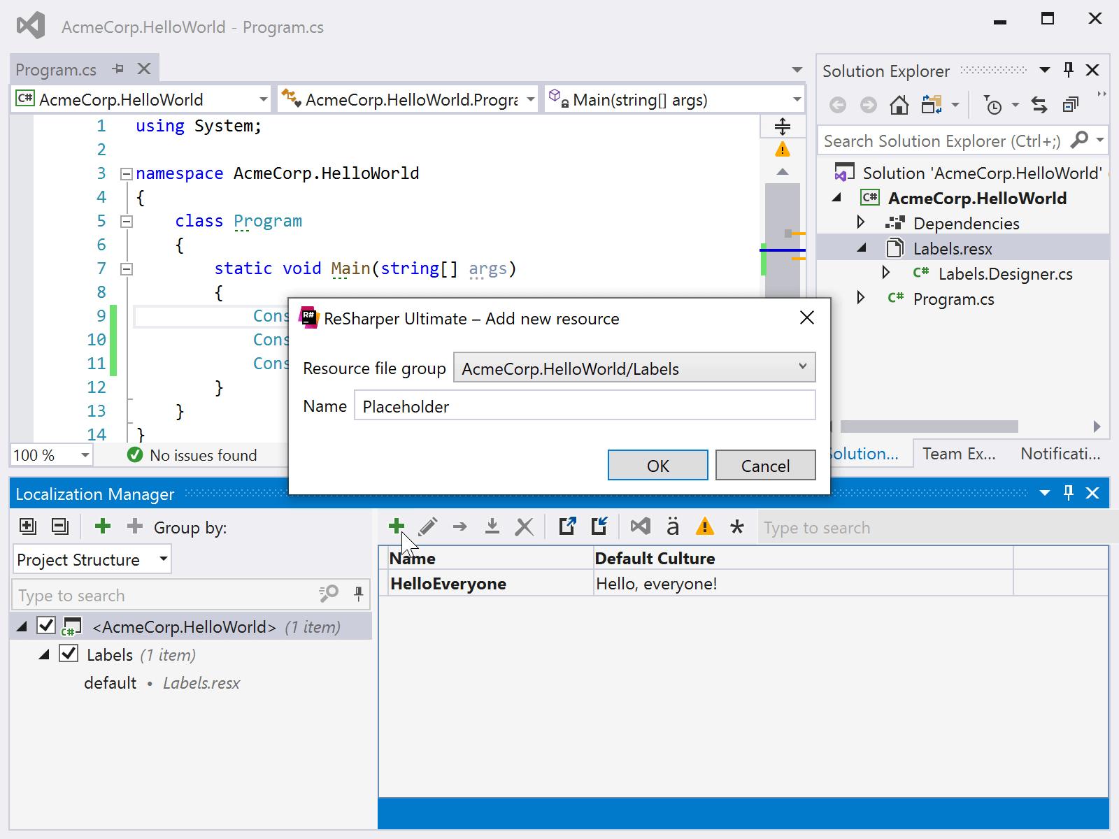 Add new localized resource