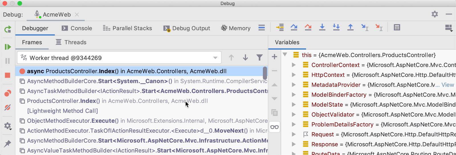 Debugging ASP.NET Core