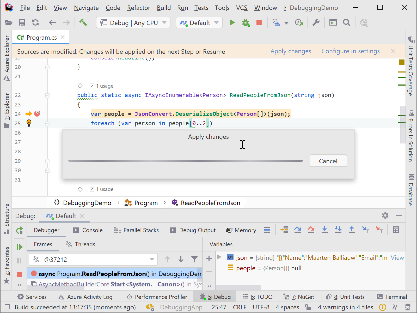 Edit & Continue debugger supporting C# 8 in Rider