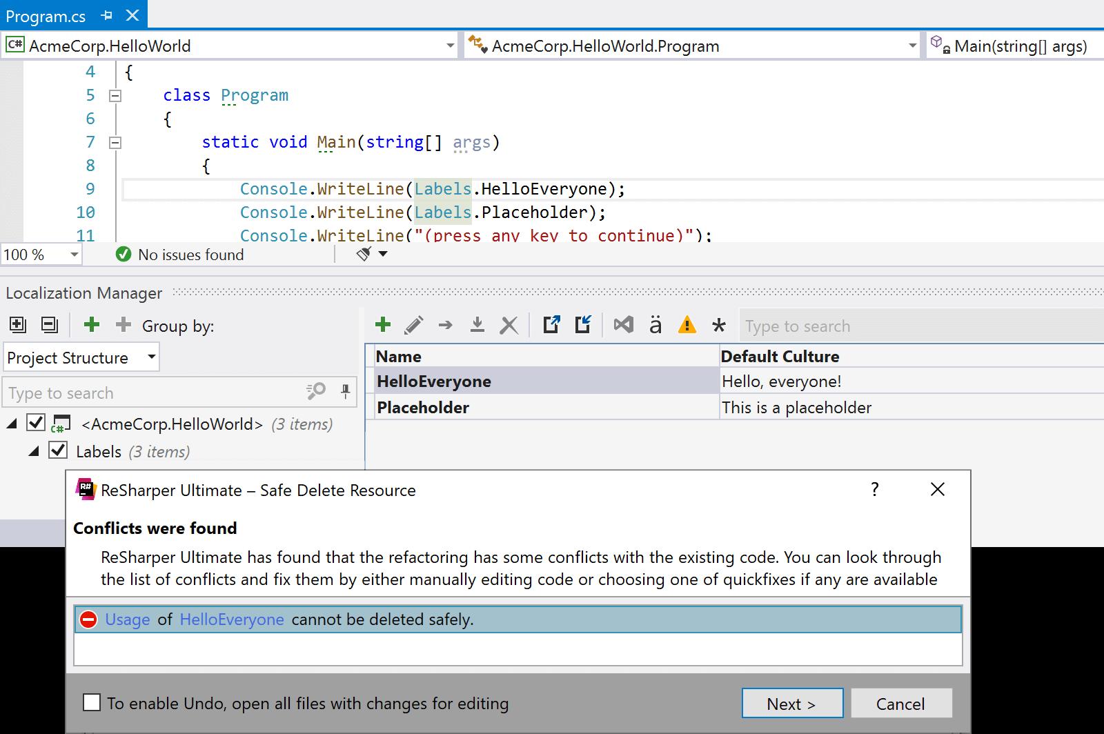 Safe Delete a resource using ReSharper