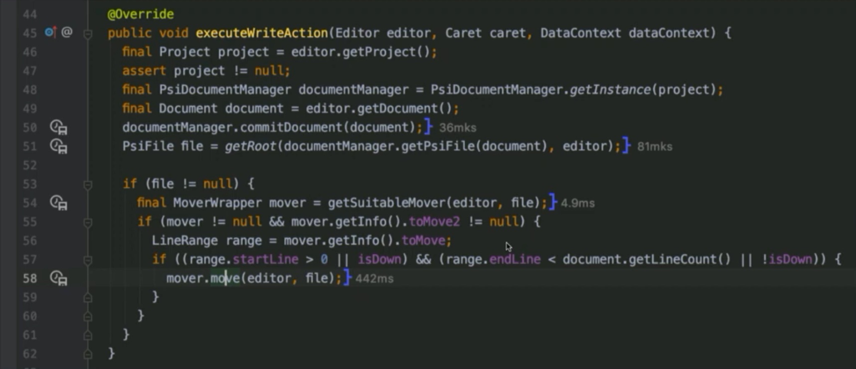 Spot profiler to show the execution times for lines of code
