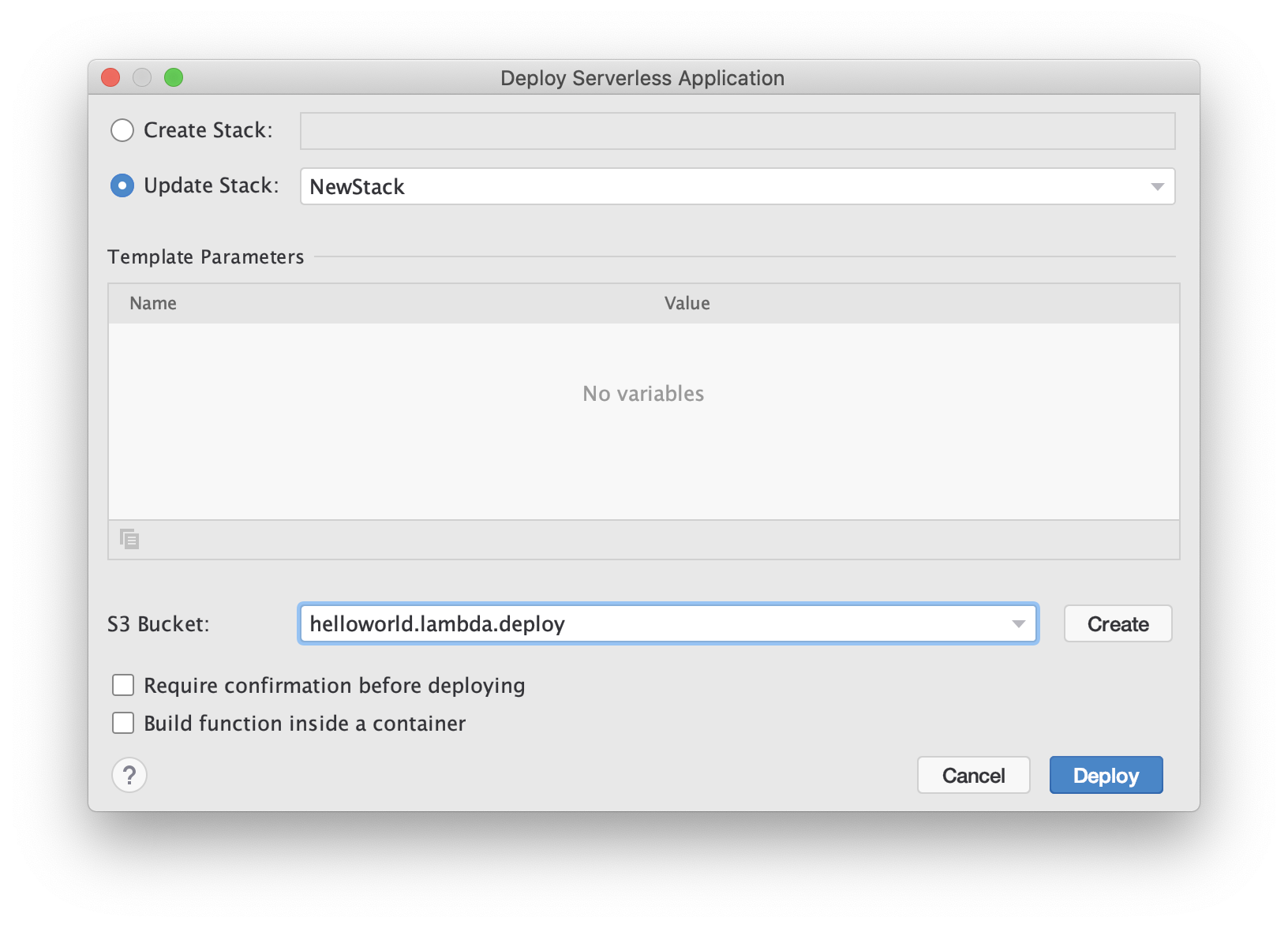 Deploy serverless application dialog
