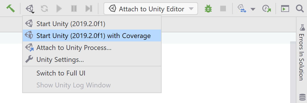 Start Unity Editor with Coverage