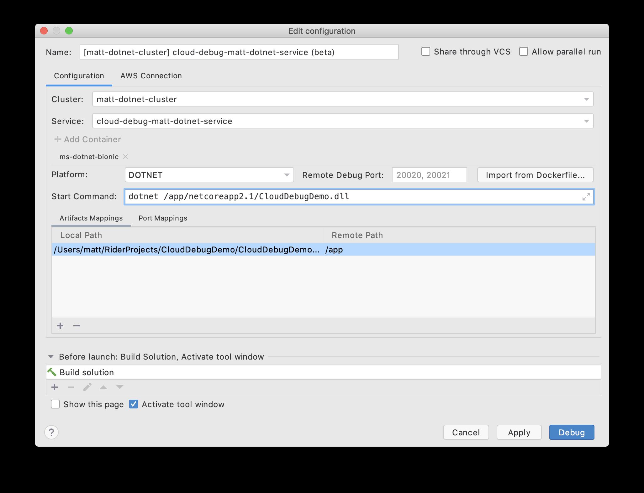 ECS Cloud Debugging run configuration