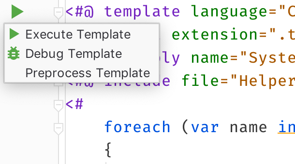 Executing and debugging T4 text templates